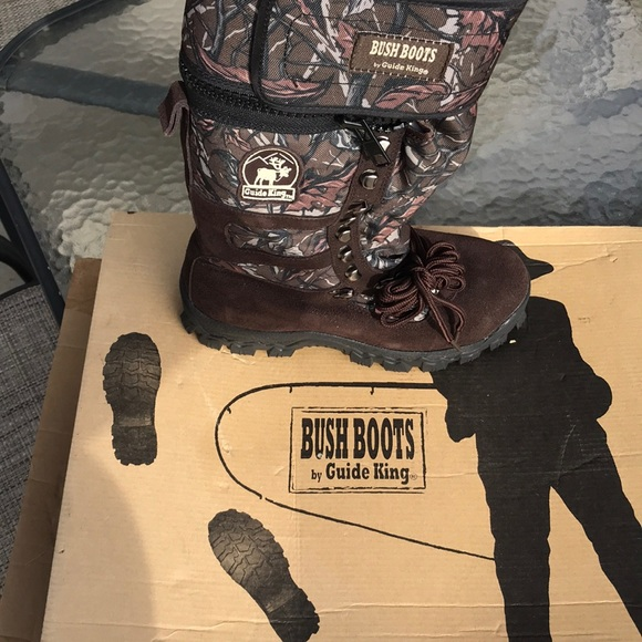 Guide king bush boots hunting hip wader camo/brown men's size 10.